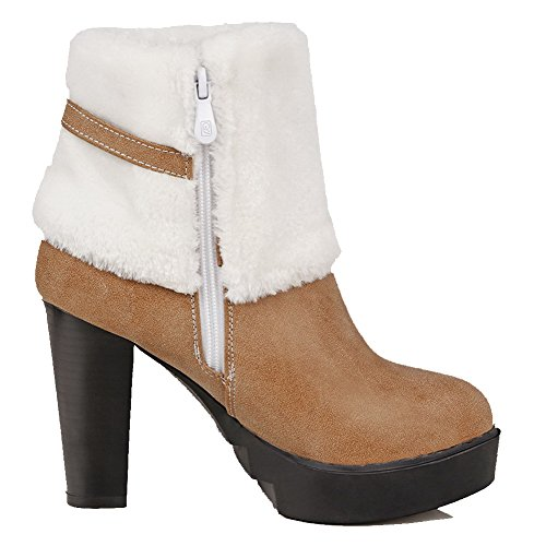 Toe High Round Allhqfashion Brown Metal Boots Pu Closed Solid Zipper Heels Women's with qWq0BHxwt