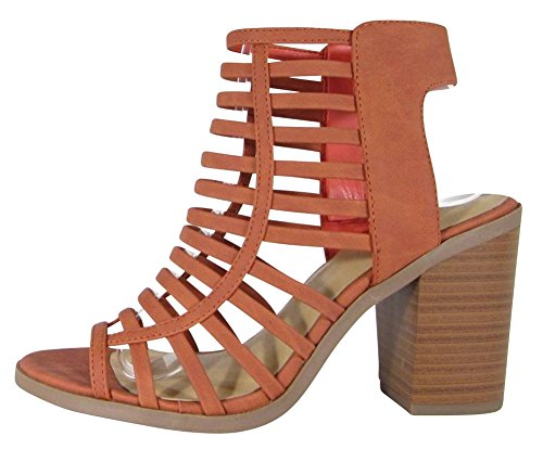 Cambridge Block Toe Ankle Women's Orange Open Stacked Chunky Caged Burnt Nbpu Bootie Heel Select Strappy Cutout rq4rxtF