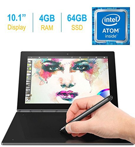 2017 Newest Lenovo Yoga Book 10.1-inch FHD Touch IPS 2-in-1 Tablet PC, Intel Atom x5-Z8550 1.44GHz, 4GB DDR3 RAM, 64GB SSD, Bluetooth, HD Graphics 400, Android 6.0.1 Marshmallow OS- Gunmetal Grey ()