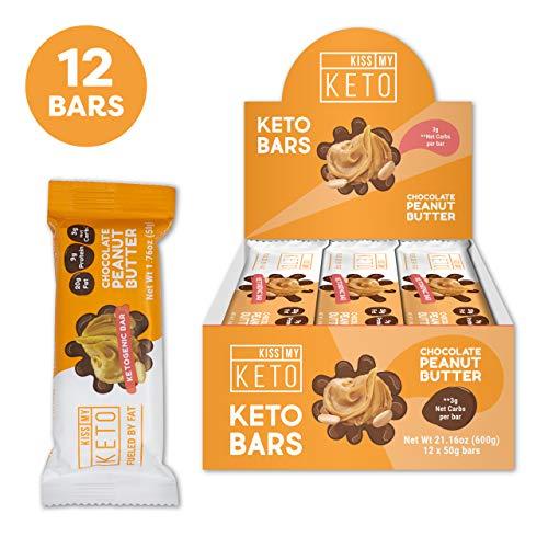 New! Kiss My Keto Snacks Keto Bars - Keto Chocolate Peanut Butter, Nutritional Keto Food Bars, Paleo, Low Carb/Glycemic Keto Friendly Foods, All Natural On-The-Go Snacks, Quality Fat Bars 3g Net Carbs