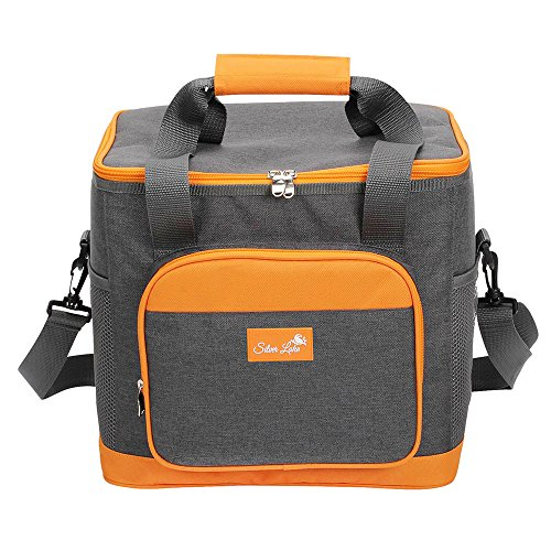 - SERISIMPLE Extra Large Soft Cooler Bag for Family Picnic Beach Adult Large Lunch Bags with Sliver Lake Logo (Grey, 24 Can XL)