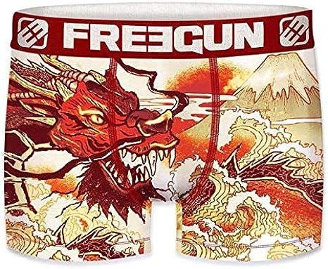 FREEGUN Boxer Homme Microfibre DRA Rouge Blanc PREMIUM