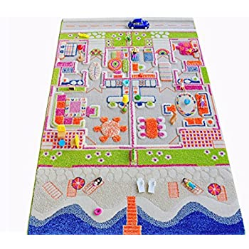Amazon Com Ivi Traffic 3d Play Rugs Green X Large