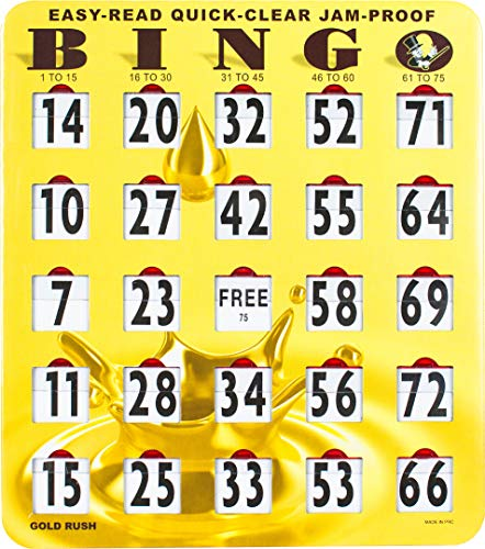 MR CHIPS Jumbo Bingo Cards with Sliding Windows - Jam Proof Gold Rush Color - 10Pk