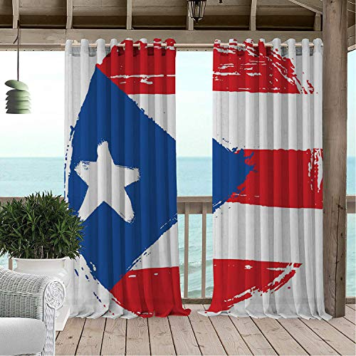 (Linhomedecor Outdoor Waterproof Curtain Puerto Rico Arrangement Oval Shaped Flag Weathered Composition Old Style White Dark Pink and Blue pergola Grommets Backdrop Curtain 84 by 96 inch)