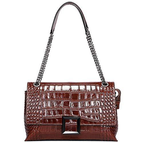 PIJUSHI Women Shoulder Bag Crossbody Bags Designer Crocodile Chain Purses (27002, Brown Croco)