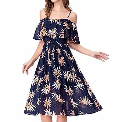 Noctflos Women's Floral Chiffon Cold Shoulder Summer Spaghetti Strap Midi Dress