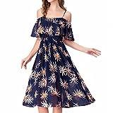 Noctflos Women's Floral Chiffon Cold Shoulder Summer Spaghetti Strap Midi Dress, Navy Floral, Large