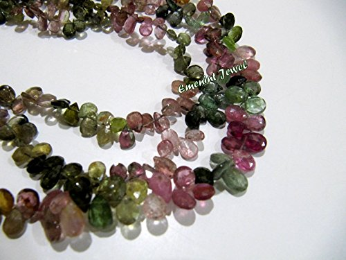 Beautiful Pear Shape - Beautiful Natural Multi Color Tourmaline Briolette Pear Shape Beads Size 4x6 mm Approx.Watermelon Tourmaline Beads sold per strand 8 inch long