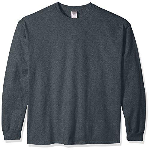 Gildan Men's Ultra Cotton Jersey Long Sleeve Tee Extended Sizes, Dark Heather, (Jersey Long Sleeve Long Underwear)