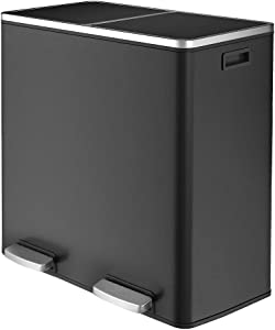 SNAN DualTrashCan&Double16Gal(60L) Classification Recycle Garbagebin,Soft&SilentLidClose,MetalIndependent Pedal Step for Home, Kitchen, Restaurant