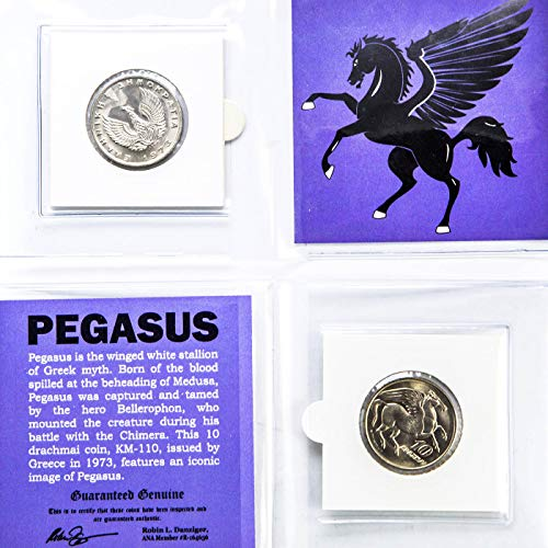 - PEGASUS COIN in mini folder with Certificate of Authenticity - 1973 GREECE 10 Drachmai Coin KM-110 - FLYING HORSE & PHOENIX Greek Mythology