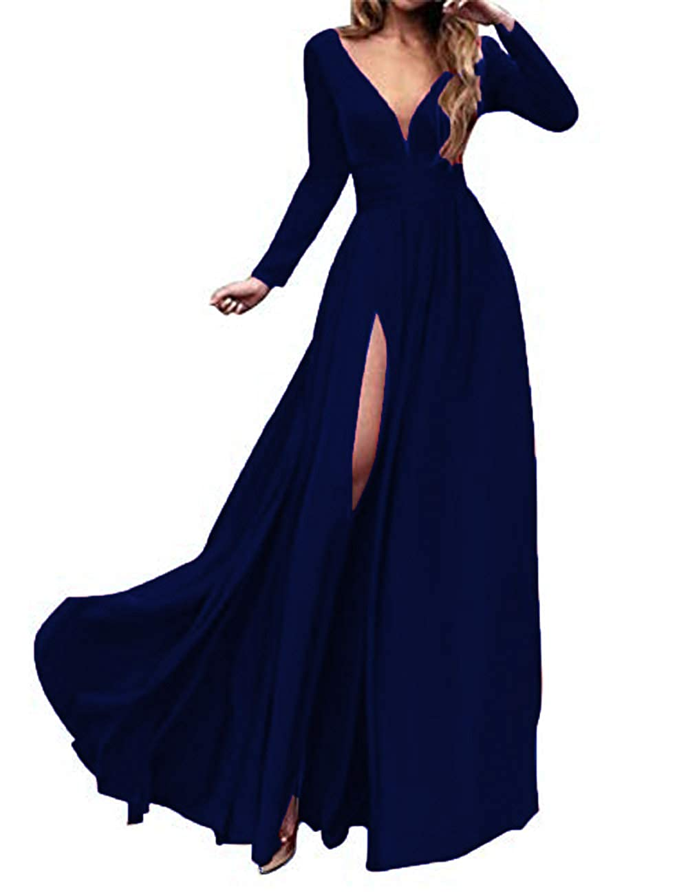 3style Navy bluee MariRobe Women's High Split Evening Dress Deep V Neck Prom Gown Long Sleeve Party Gown