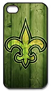 icasepersonalized Personalized Protective Case for iPhone 4/4S - NFL New Orleans Saints in Wood Background