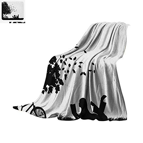 Luoiaax Black and White Warm Microfiber All Season Blanket Silhouette of a Girl with Bike Reading a Book Under a Tree in Fall Summer Quilt Comforter 60