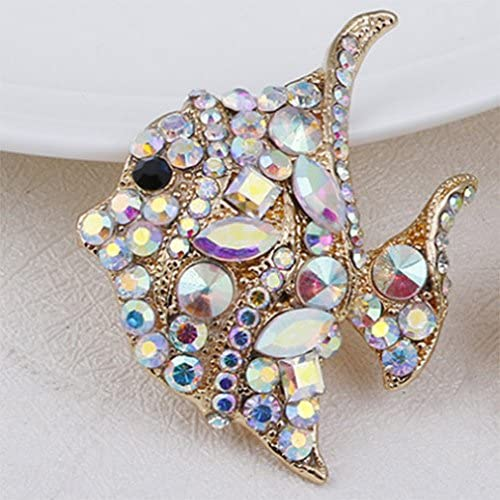 Fish Brooch Pin Multicolour Style Delicate Rhinestone Gold Plated Cocktail Casual Lovely Gift