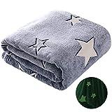 winthome glow in the dark blanket star blanket,soft microfiber flannel blanket,fleece throw blanket