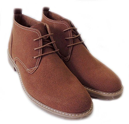 New Mens Stivaletti In Finta Pelle Scamosciata Foderata Chukka Lace Up Shoes M51001s / Brown313