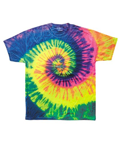 Tie Dye Colortone Adult Multi Color Tee, Neon Rainbow, Large