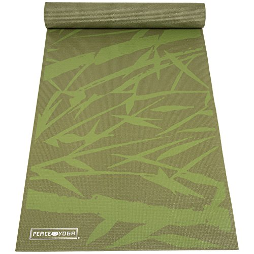 Mens n Womens 6mm Yoga Exercise Mat, Green Bamboo