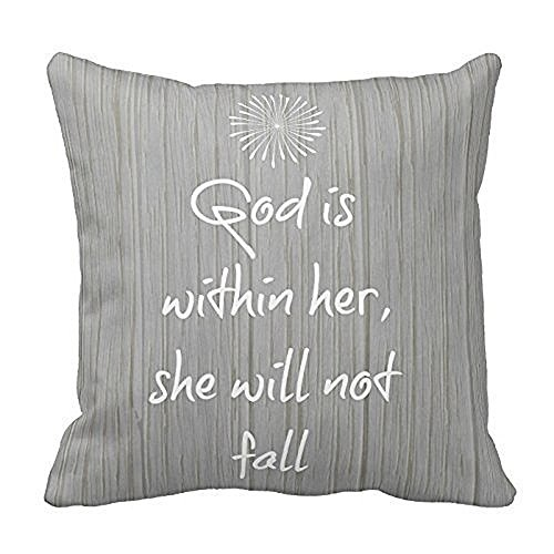 YOUHOME White Bible Verse On Gray Wood Pattern Throw Pillow Decorative Inspirational Quotes Pillow Cover Square Throw Pillow Case Cover Quotes Two Sides Zippered Pillowcase Pillow Cover 18x18 inches