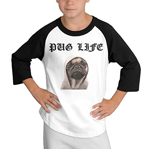 Price comparison product image MULTY9 Pug Life Child Youth 3/4 Sleeve Raglan Large