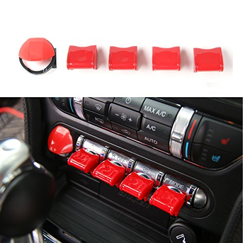Engine Start/Stop Button Center Console Dashboard Button Switch Button Cover Trim for Ford Mustang 2015 2016 2017 (Red)