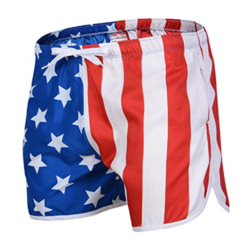 Flag Running Shorts - Mens Shorts Swim Trunks With Pocket High Printed Board Shorts For walking, Running,Surfing,Beach or at Home (Large, American Flag)