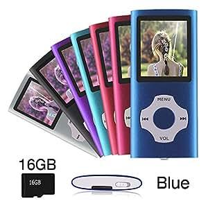 Ueleknight Reproductor de MP3 MP4 con Micro SD de 16G, de Música Digital Portátil,Azul
