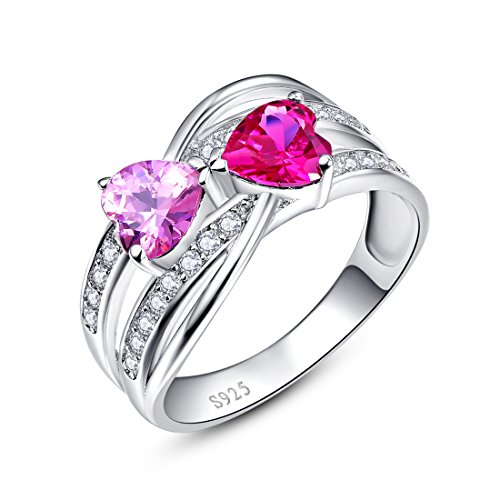 Rhodium Plated Hearts Band - Merthus Womens 925 Sterling Silver Created Ruby & Pink Topaz Double Heart Twisted Band Ring