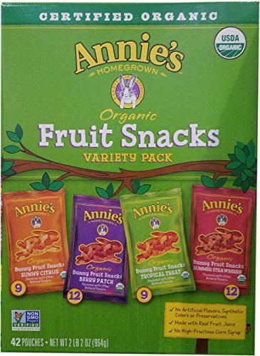 Annie's Homegrown Organic Vegan Fruit Snacks Variety Pack, 42 Count, 2LBS 2OZ -