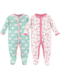 Baby Cotton Snap Sleep and Play, Unicorn 2 Pack, 3-6 Months