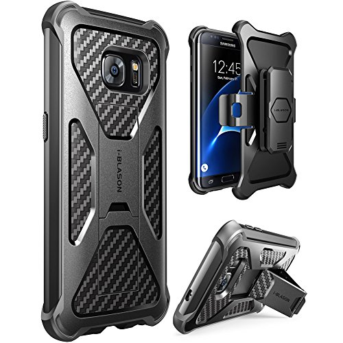 Galaxy S7 Edge Case, i-Blason Prime [Kickstand] Samsung Galaxy S7 Edge 2016 Release [Heavy Duty] [Dual Layer] Combo Holster Cover case with [Locking Belt Swivel Clip] (Black) by i-Blason