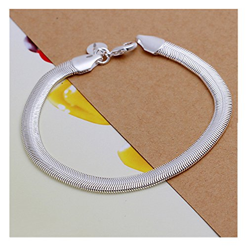 NYKKOLA New Fashion Jewelry Beautiful 925 Silver Snake Chain Bracelet (Nickel Snake Bracelets)