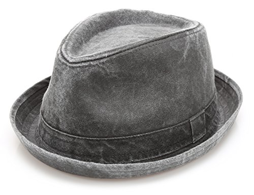 Men's Denim Washed Cotton Casual Vintage Style Fedora Sun Hat (Grey,ML) -