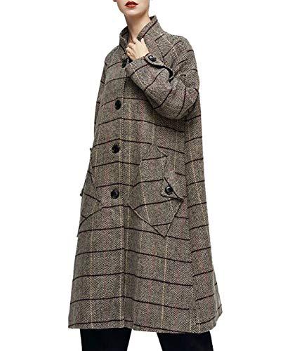 (YESNO AG8 Women Fashion Long Plaid Wool Blend Coat Single Breasted Big Gather on Back Unique Pocket Design Long Sleeve Slit & Buttoned)