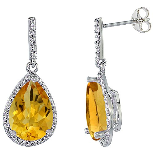 10K White Gold Diamond Halo Natural Citrine Dangle Earrings Pear Shaped 12x8 mm
