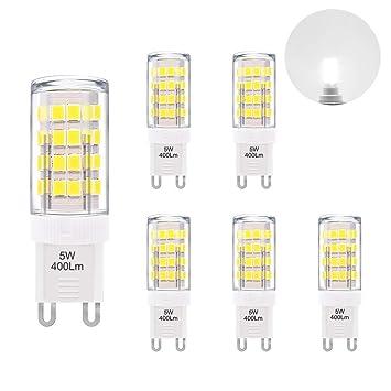 Lamparas Bombillas Capsula Pequeñas Casquillo G9 GU9 5W 400Lm de LED Luz Fria 6000K AC220-240V Equivalentes a Lamparas Halogenas de 40W Lot de 6 de Enuotek: ...