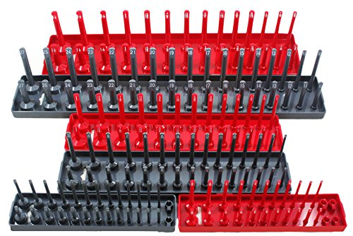 EZLY Socket Organizer Holder Tray - 6 Piece Set - SAE & Metric 1/4 3/8 (Holder 6 Piece)