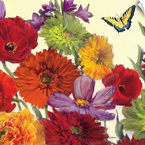 - CANVAS ON DEMAND Carol Rowan Wall Peel Wall Art Print Entitled Butterfly Flower Scatter Crop II 10