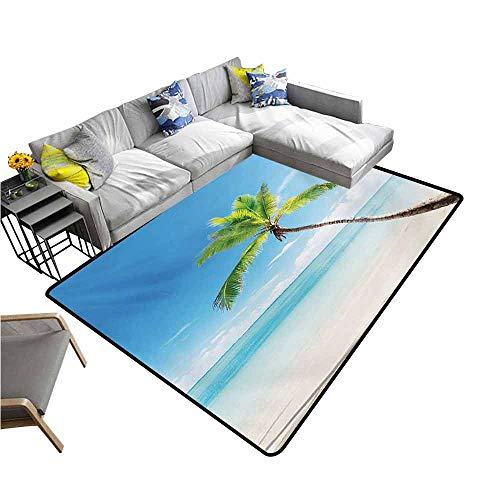 Outdoor Kitchen Room Floor Mat Tropical,Palm Tree on Caribbean Sandy Beach Clear Sky Horizon Hot Sunny Day Panorama,Blue Green Beige 60
