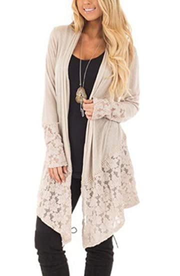 c6f5b1e1a0 UUYUK Women Long Sleeve Sun Protection Open Front Lace Mid Length Plus Size  Cardigan Kimono Blouse Top Coat Outwear at Amazon Women's Clothing store: