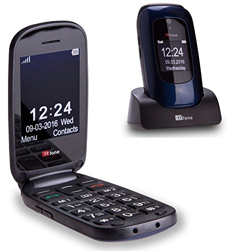 TTfone Lunar TT750 Big Button Simple Easy Clamshell Unlocked Flip Mobile Phone -...