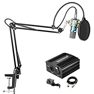 Neewer NW-700 Condenser Microphone Kit with 48V Phantom Power Supply, NW-35 Suspension Arm Stand, Shock Mount(Silver), Pop Filter for Home Studio Recording Broadcast YouTube Live Periscope(Blue)