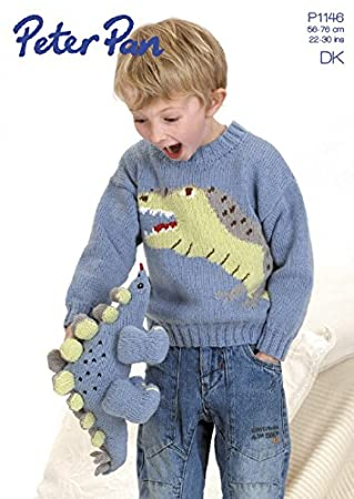 Peter Pan Jungen Dinosaurier Pullover & Spielzeug Strickmuster 1146 ...