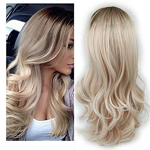 Lady Miranda Ombre Wig Brown to Ash Blonde High Density Heat Resistant Synthetic Hair Weave Full Wigs for Women(T/Ash Blonde) ()
