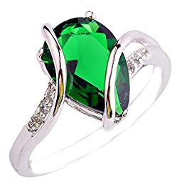 Empsoul Women 925 Sterling Silver Pear Cut Emerald Quartz May Birthstone Engagement Proposal Filled Ring