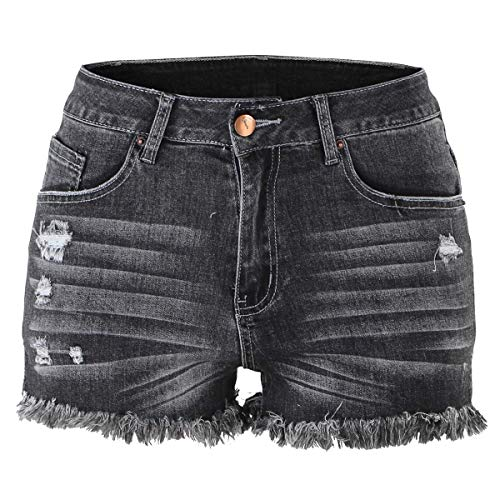(OLYHA Womens Jean Shorts High Waist Frayed Raw Hem Ripped Distressed Denim Short(Black)
