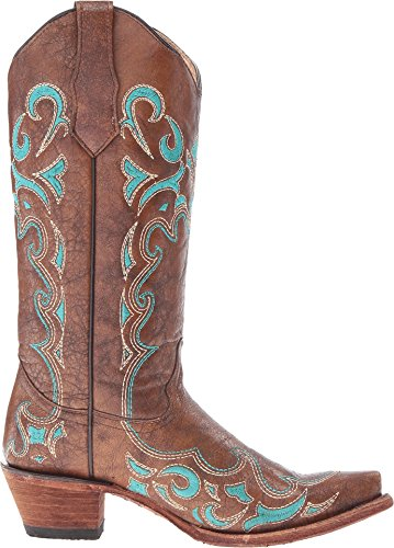 Boots G Toe Brown Turquoise Embroidery Snip Circle Women's Decorative Leather Corral vY75qn