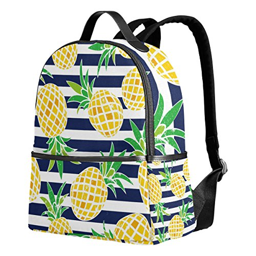 Use4 Striped Pineapple Fruit Retro Polyester Backpack School Travel Bag by ALAZA (Image #7)